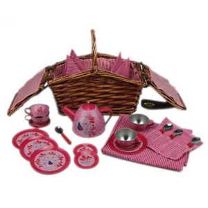Egmont Toys Teeservice Kinder im Korb Puppen Spiel Geschirr Metall Picknickkorb