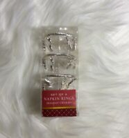 Holiday Charms Silver (3) Set Of 4 Napkin Rings