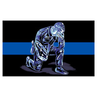 Praying Officer w Flag Thin Blue Line Police Sticker / Decal #204 Made in U.S.A.