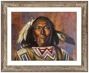 Jack Hines Original Oil Painting On Board Signed Native American Portrait Framed