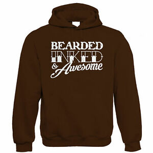 Bearded Inked & Awesome, Mens Funny Beard Hoodie - Hipster Tattoo - Gift for Dad