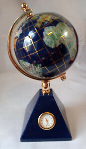 Kalitano Rotating World Globe Semi Precious Stones and Quartz Clock