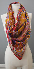 Vismaya Square BOHO Orange Red 100% Silk Scarf Paisley NWT Sold @ Anthropologie