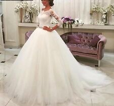 UK Plus Size White/Ivory 3/4 Sleeve A Line Lace Wedding Dress Bridal Size 6-22
