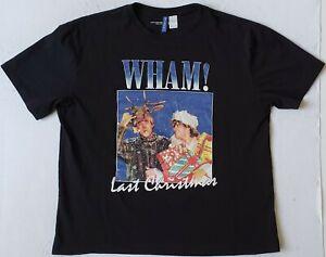 WHAM! Last Christmas George Michael & Andrew Ridgeley Size Large Black T-Shirt
