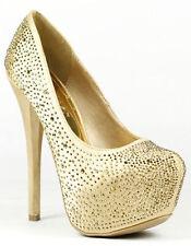 Gold Embellished Rhinestone Jeweled High Heel Platform Pump 8.5 us Liliana Fire