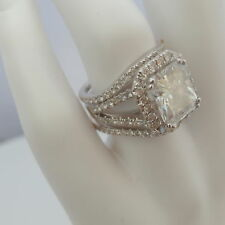 DIAMOND RING HALO 8 PRONGS 18 KT WHITE GOLD ANNIVERSARY 6.5 CT SIZE 4 1/2 - 9
