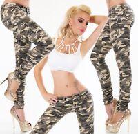 Camouflage Hüft Jeans Hose Röhrenjeans Skinny Stretch Army Look XS S M L XL