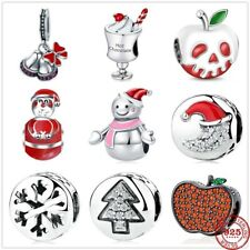 925 Sterling Silver Christmas Bell Snowman Beads Pandora Charms Bracelet Jewelry