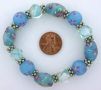 BLUE FLORAL FLOWER LAMPWORK GLASS PEWTER STRETCH BEAD BRACELET ms33