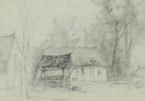 France 1878:  The Woodpile on the Old Farm, Evocative Autumnal Pencil Sketch