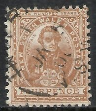 New South Wales Scott 79a Used Fine - 1888 4p Brown Capt. Cook Issue Cv $20