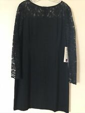 Worthington Petite Black Cocktail Dress With Lace Top And Sleeves Size 14P NWT