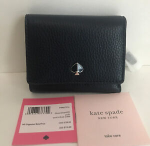 NWT!!Kate Spade New York Small Polly Tri-Fold Leather Wallet in Blazer Blue
