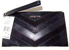 Michael Kors Bedford Large Zip Clutch Wristlet Embossed Leather Black NWT $118
