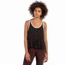 2017 NWT WOMENS VOLCOM DEEPER THOUGHTS TANK TOP $32 S black draw cord waist