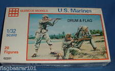 WW2 U.S. MARINES - GLENCOE MODELS - SET #02201. 1/32 SCALE PLASTIC FIGURES