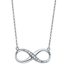 Infinity 14K Solid White Gold Classic Dainty Infinity Pendant Necklace 0.15 CT