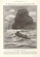 1914 ANTIQUE PRINT-ww1-torpedoing and Sinking of Hms HERMES, NORMAN WILKINSON