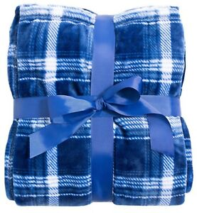 """New 50"""" x 60"""" Fleece Lined Tartan Plaid Flannel Winter Bed Couch Blanket Throws"""