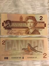Unc Canada 1986 $2 Dollar Bill Paper Money Bank Notes Consecutive Serial Numbers