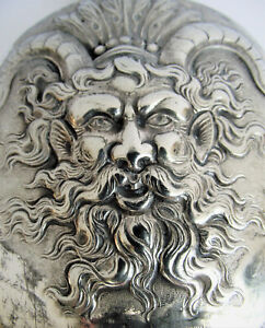ANTIQUE SILVER REPOUSSE BACCHUS FIGURAL VICTORIAN WINE WHISKEY HIP FLASK POCKET
