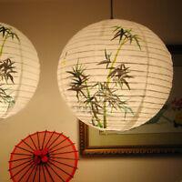 35cm Lanterne de Papier Bambou Rond Boule Lampion Déco Fête Mariage Maison DIY