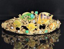 Kabana 18ct Oro Amarillo Esmalte Tropical Vida Marina Diamante Emerald Pulsera