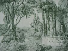 "ZOFFANY CURTAIN FABRIC DESIGN ""Le Temple De Jupiter"" 2.2 METRES GREEN 100% LINEN"