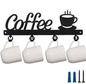 Coffee Decor Kitchen Wall Mounted Coffee Bar Mug Cup Rack Holder Display Sign