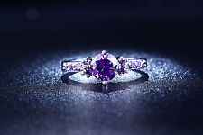 GORGEOUS SILVER PLATE ROUND CUBIC ZIRCONIA AMETHYST RING UK SIZE O USA 7 LSR 199