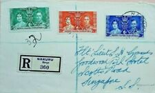 KENYA 1937 NAKURU REGISTERED COVER TO SINGAPORE WITH CORONATION STAMPS SET