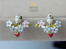 Boucles d'Oreilles Clous Doré Puces Oiseau Fleur Email Bleu Goutte Rouge L2