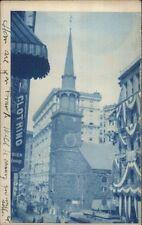 Boston MA Church & Street View 1906 Used Cyanotype Real Photo Postcard spg