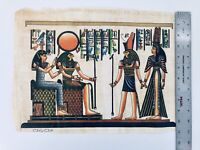 Vintage HAND PAINTED EGYPTIAN ART ON PAPYRUS Egypt Ra Sun God Helios Queen