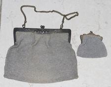 Sac á main bal maille argent 1920 Art Nouveau Antique Silver Mesh Handbag 20s
