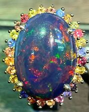 NATURAL BLACK OPAL 18.5X13 MULTI SAPPHIRE DIAMOND CUT STERLING SILVER925 RING