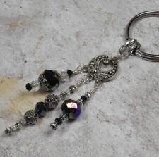 Chandelier Crystal Beaded Handmade Keychain Split Key Ring Bronze Black Silver