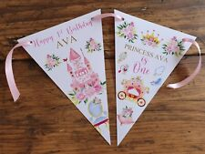 Personalised PINK PRINCESS Party Bunting Banner Decoration 1st 2nd 3rd ANY AGE