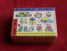 ©1991 Hero Arts Rubber Stamps - 9 BIRTHDAY STAMPS - NEU und OVP