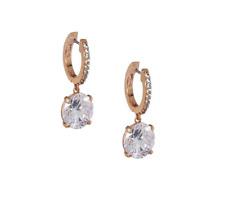 Mini Hoop Earrings Rose Gold Tone/Clear Kate Spade New York Rise and Shine