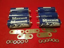 Lot of 6 Maxwell Ultra Capacitor 2.7V 3000F Farad with Hardware K2 2.7V Series