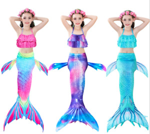 3-PC TOP + BOTTOM + TAIL Childrens Girls Mermaid Tail Scale Bathing Swimsuit