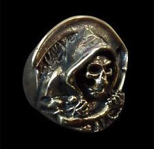 Bronze Grim Reaper Skull Biker Ring Custom Size Occult Mythology Handmade R-152b