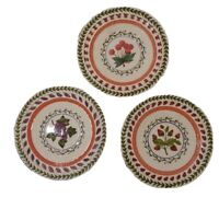 """Vintage Fresh N' Fruity 8 1/2"""" Salad Plate Set of 3 Hand Painted Strata Group"""