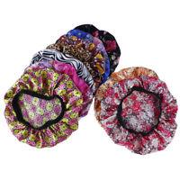 Women Satin Night Sleep Cap Hair Bonnet Hat Silk Head Cover Wide Elastic Band LY