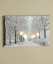 Lighted Treescapes Canvas Wall Art First Snow Lighted Street Lamps Home Decor
