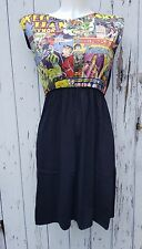 Comic Book Noir Robe Patineuse Taille 10 12 14-Geek Chic Super-héros Rockabilly