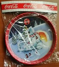 Vintage Coca Cola Coke Polar Bears Metal Round Holiday Tray Sealed New/Old Stock