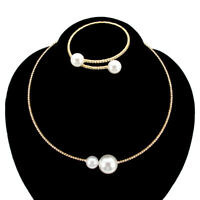 Women Short Pearl Elegant Collar Choker Bangle Necklace Adjustable Jewelry Set